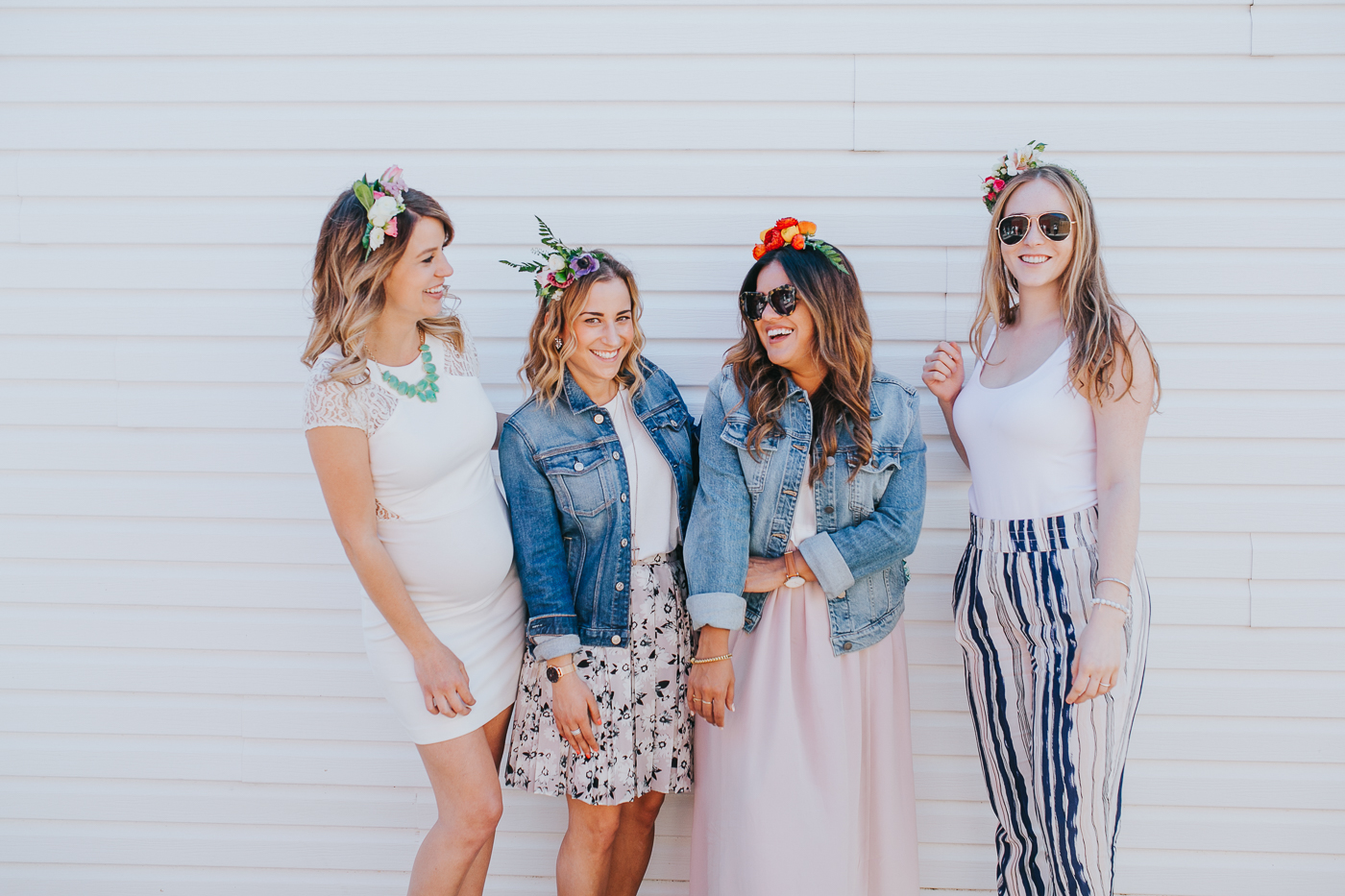 Toronto bloggers are wearing spring outfits and the flower crowns they made at Wildnorth Flowers