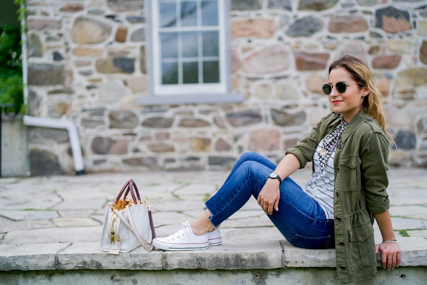 "Toronto-based lifestyle and fashion blogger, Jackie At Something About That, wearing her ""typical outfit for me"" on the blog"