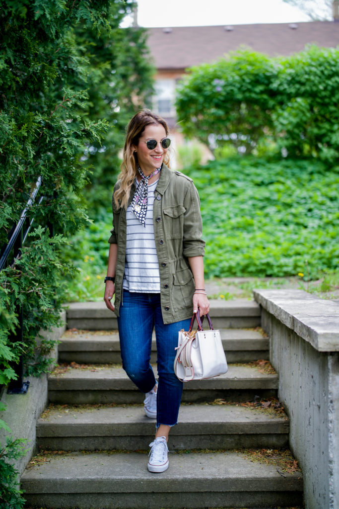 Canadian lifestyle and fashion blogger, Jackie at Something About That blog, wearing a utility jacket from Topshop with step-hem jeans that were a DIY