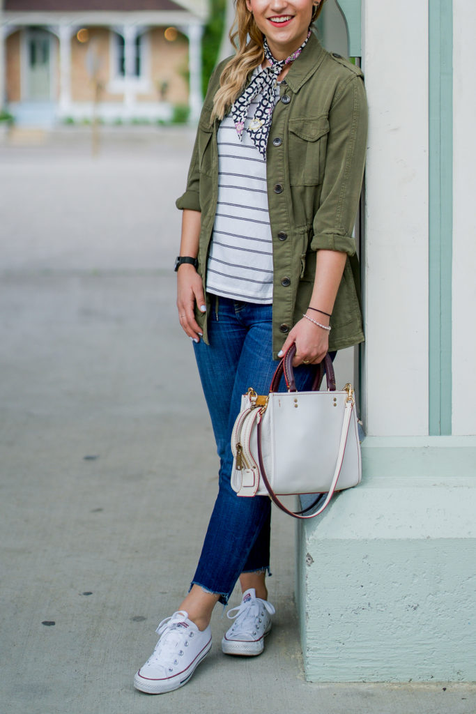 An easy, casual spring outfit, with a striped tank from Madewell, army green utility jacket from Topshop, DIY step-hem jeans and a neck tie