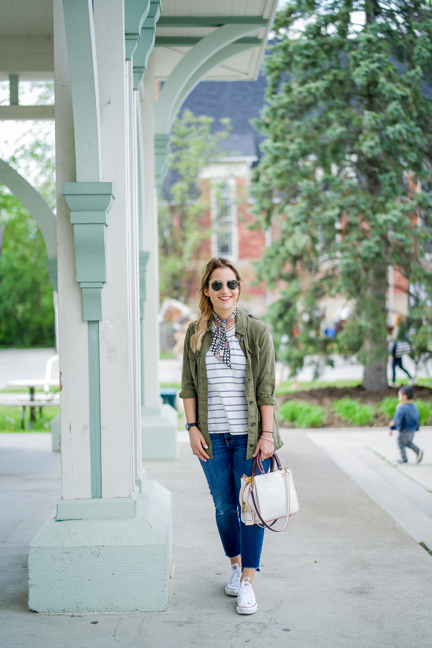 Wearing a simple, casual outfit to explore Markham's Main Street Unionville during spring