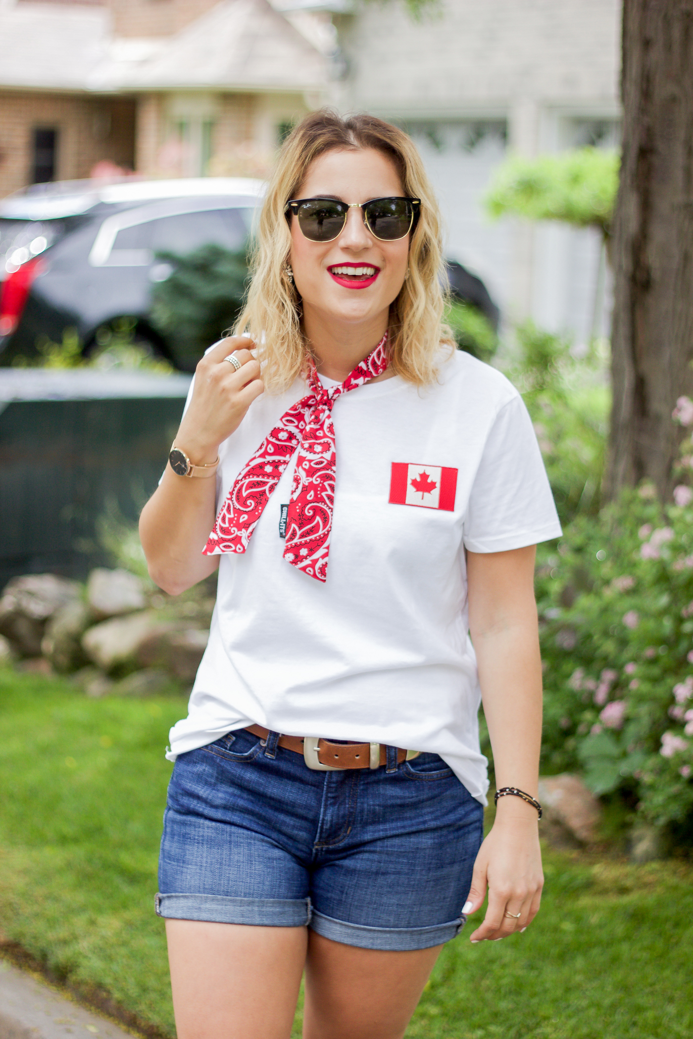 Canadian fashion blogger is wearing a Canada Day outfit that she made as a DIY - all available on Amazon