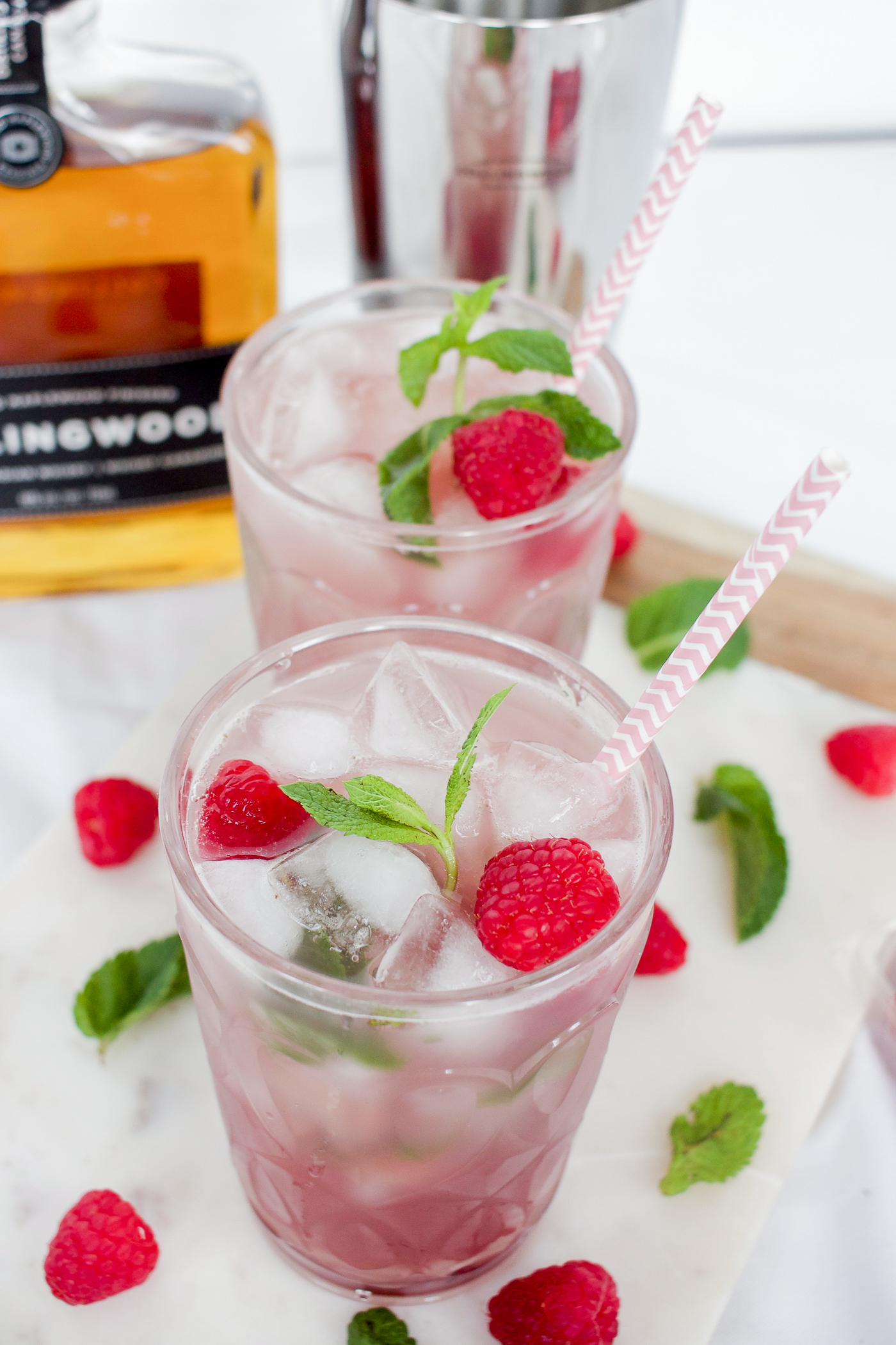 This is a raspberry and mint cocktail recipe, made with whiskey