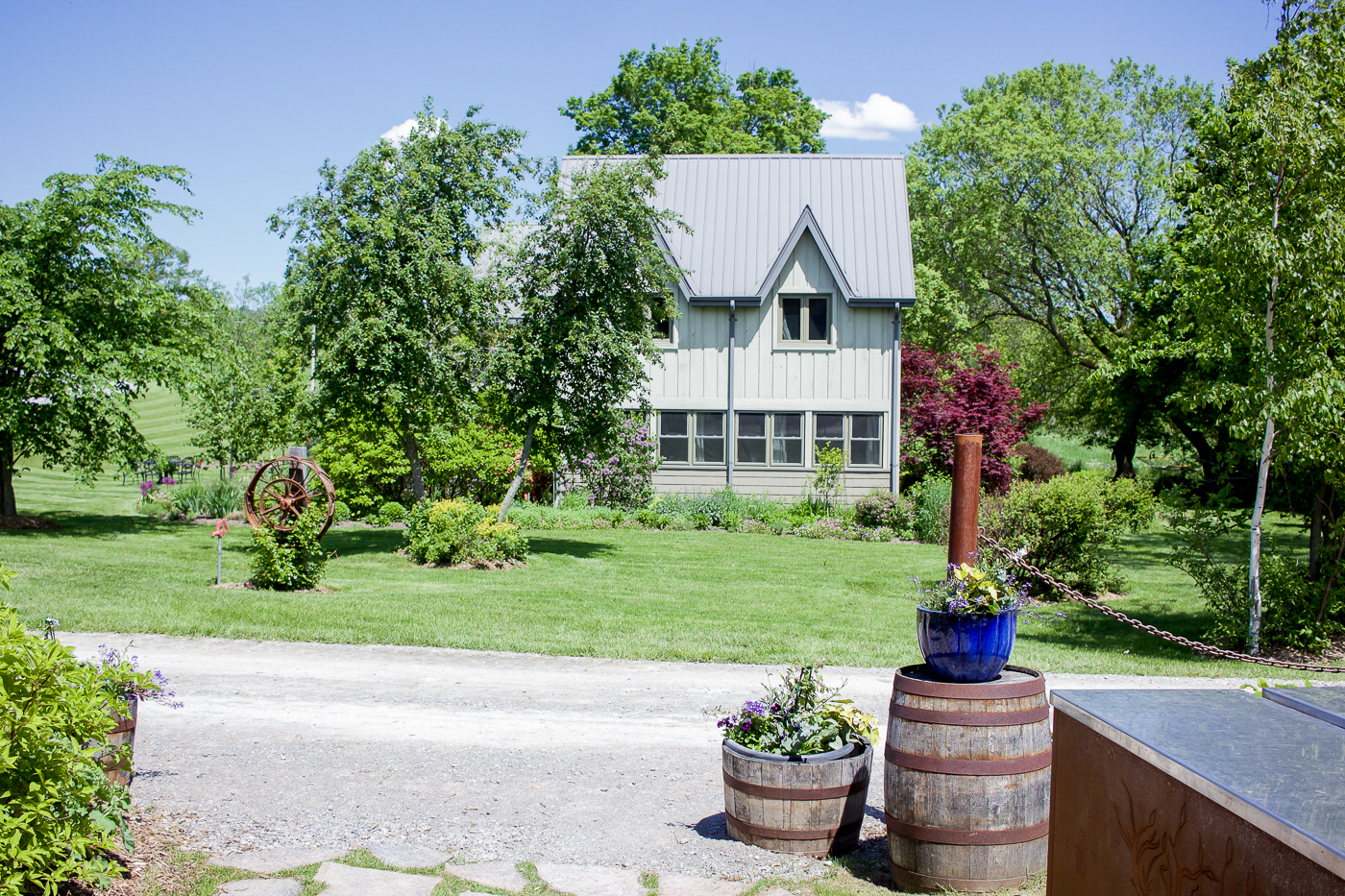 the view outside the main barn area at south pond farms