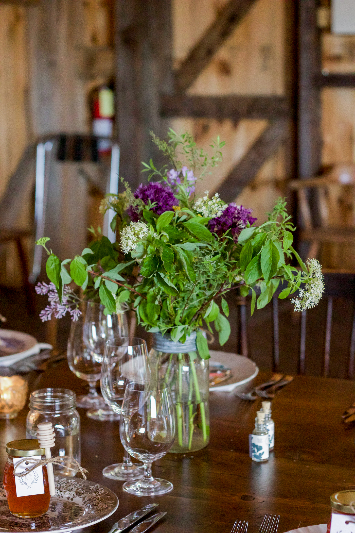 rustic farm fresh wild flowers on the table for lunch at south pond farms