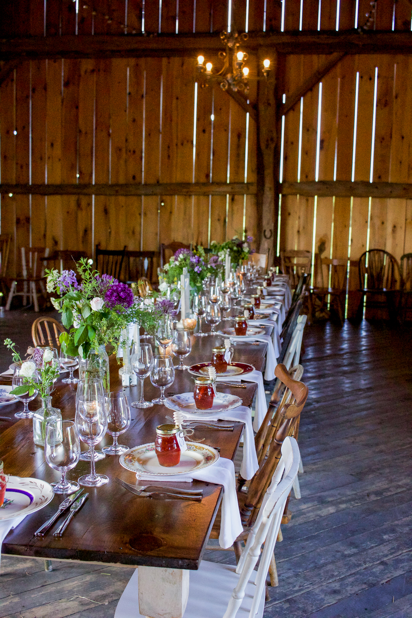beautiful rustic tablescape at the south pond farms event and venue space outside of toronto