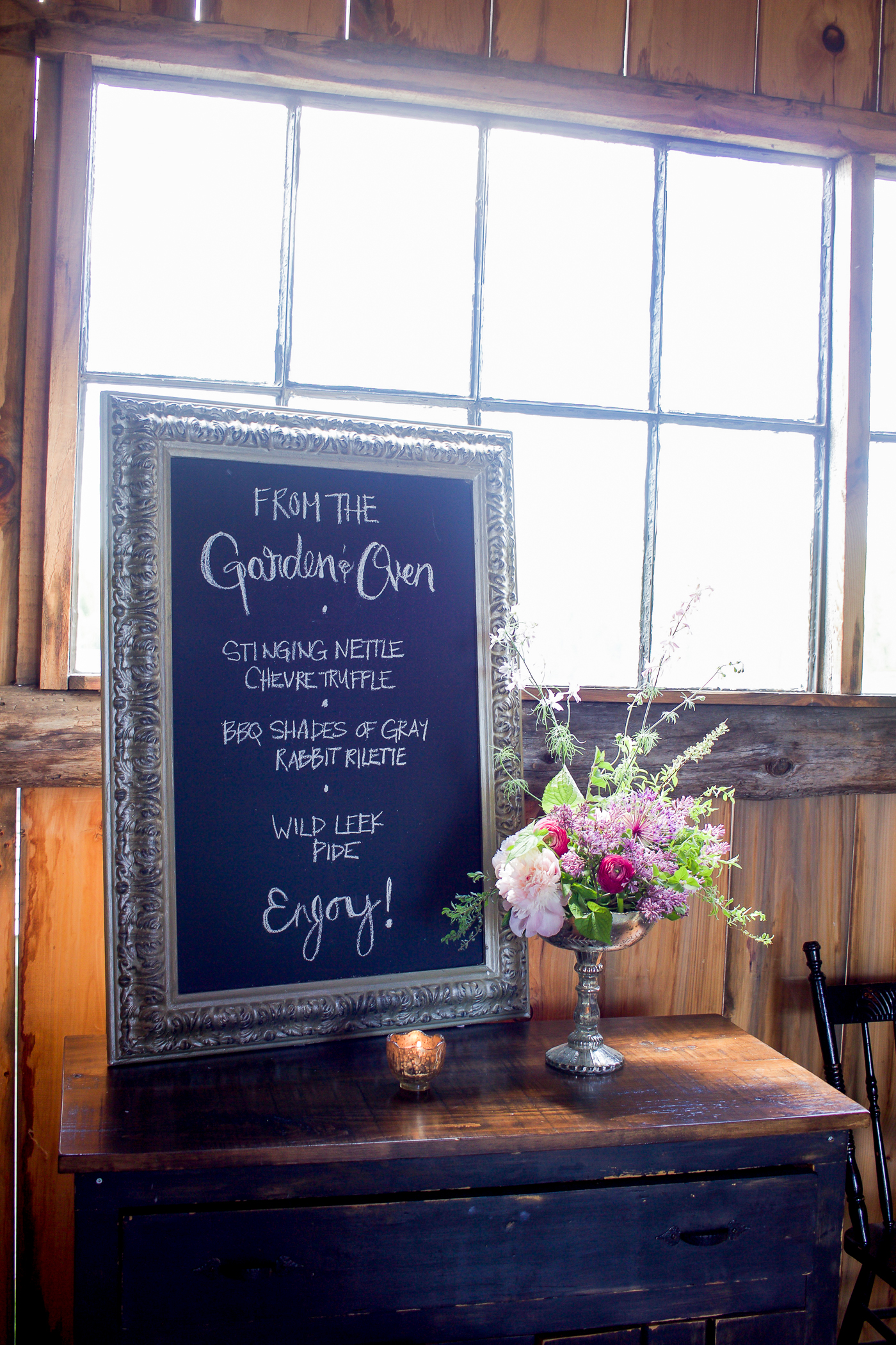the menu for lunch at south pond farms, was a hand written chalkboard design