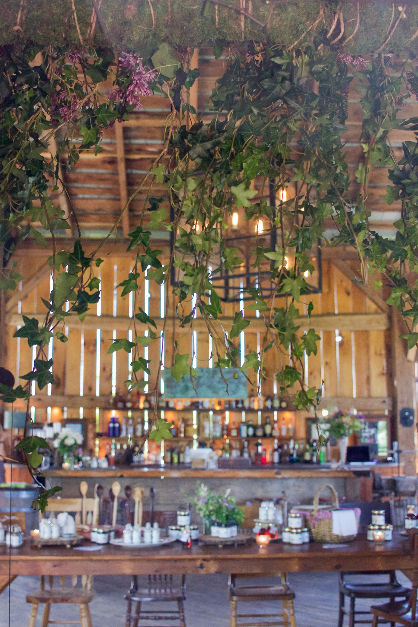 the bar set up at south pond farms - perfect venue for a rustic wedding near toronto