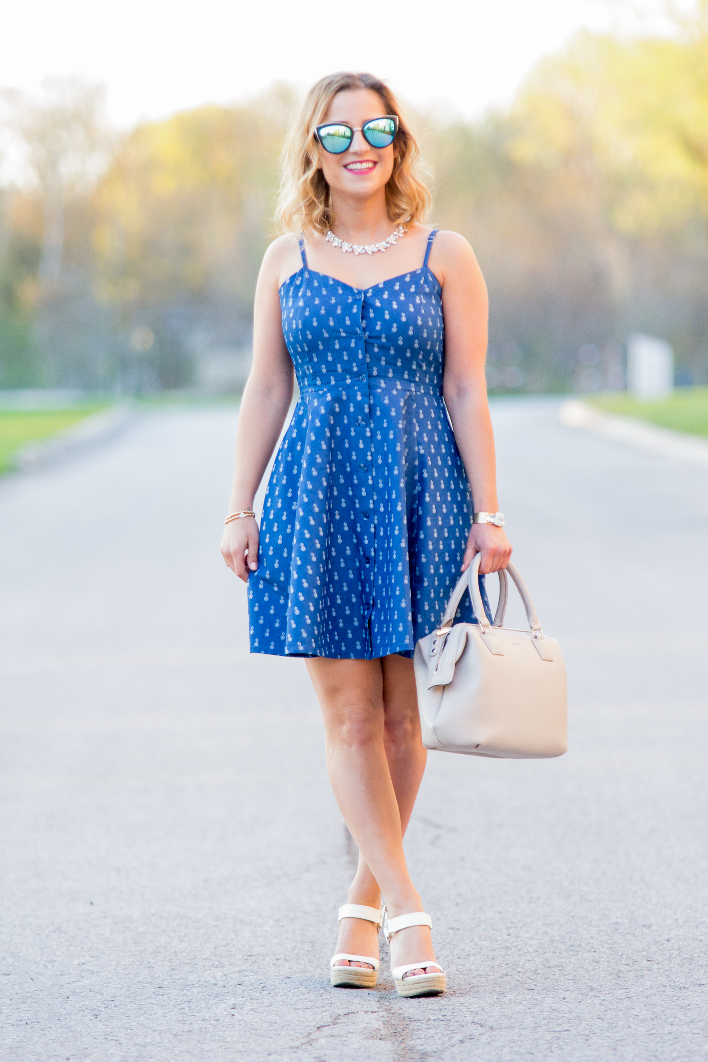 Casual chambray dress with pineapple print, from Lemonberry in Aurora, worn by blogger Jackie Goldhar at Something About That