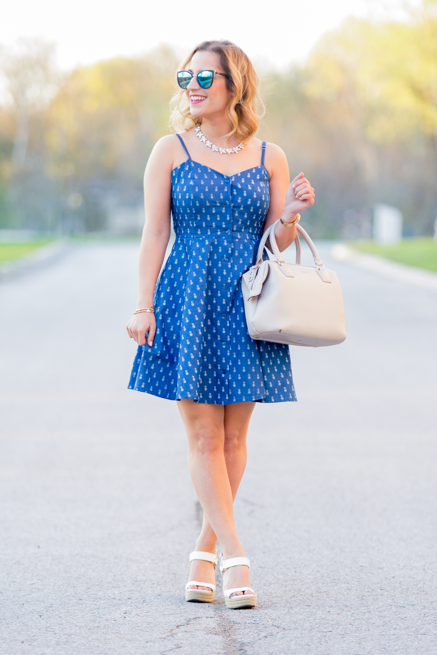 Casual and chic chambray dress with pineapple print, simple outfit for summer