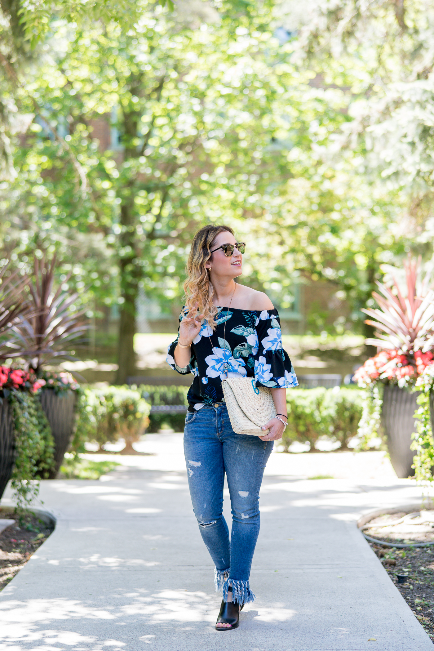 floral off the shoulder top from banana republic, with frayed hem jeans that look good when you're petite