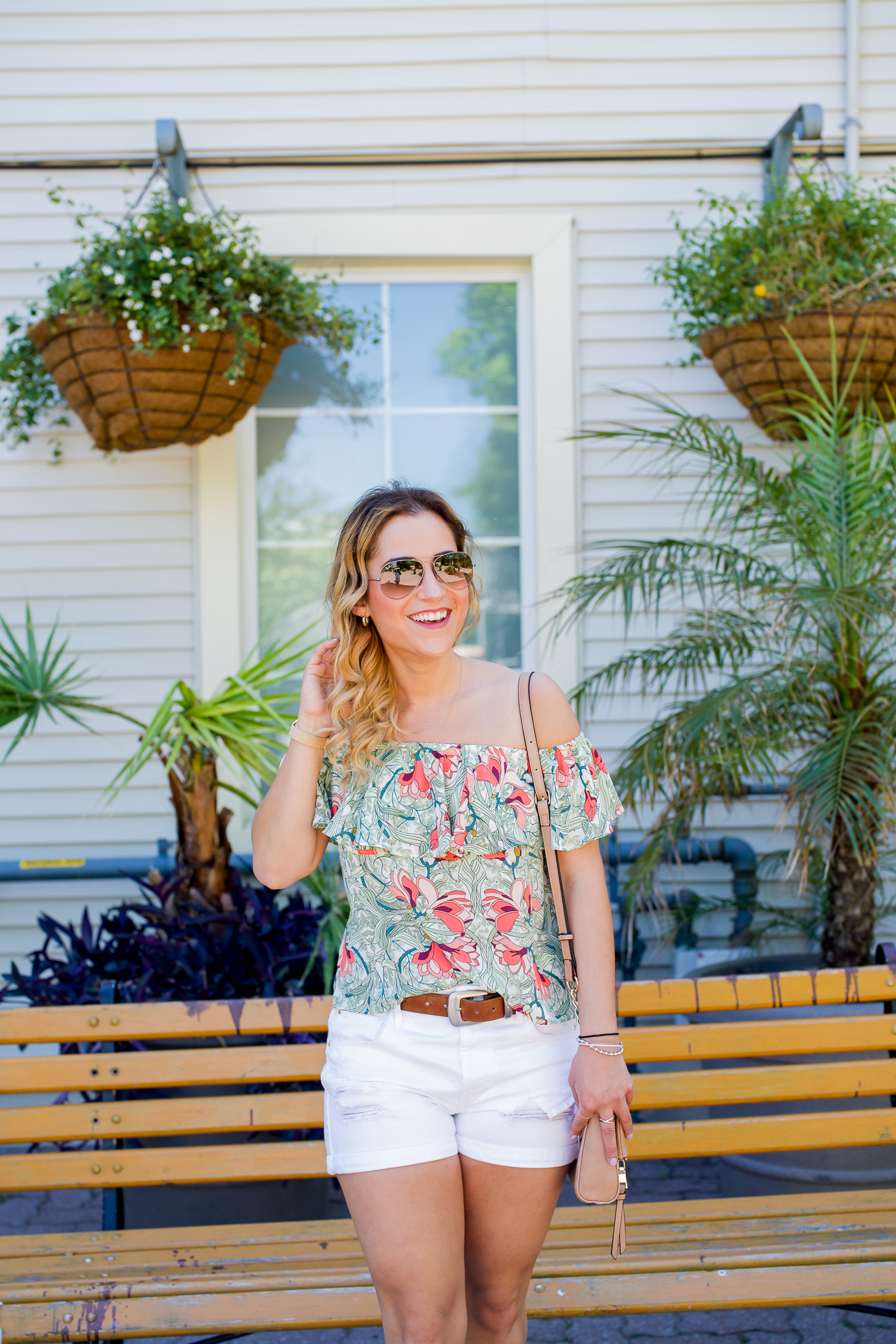 Guess floral print off-the-shoulder top with white shorts