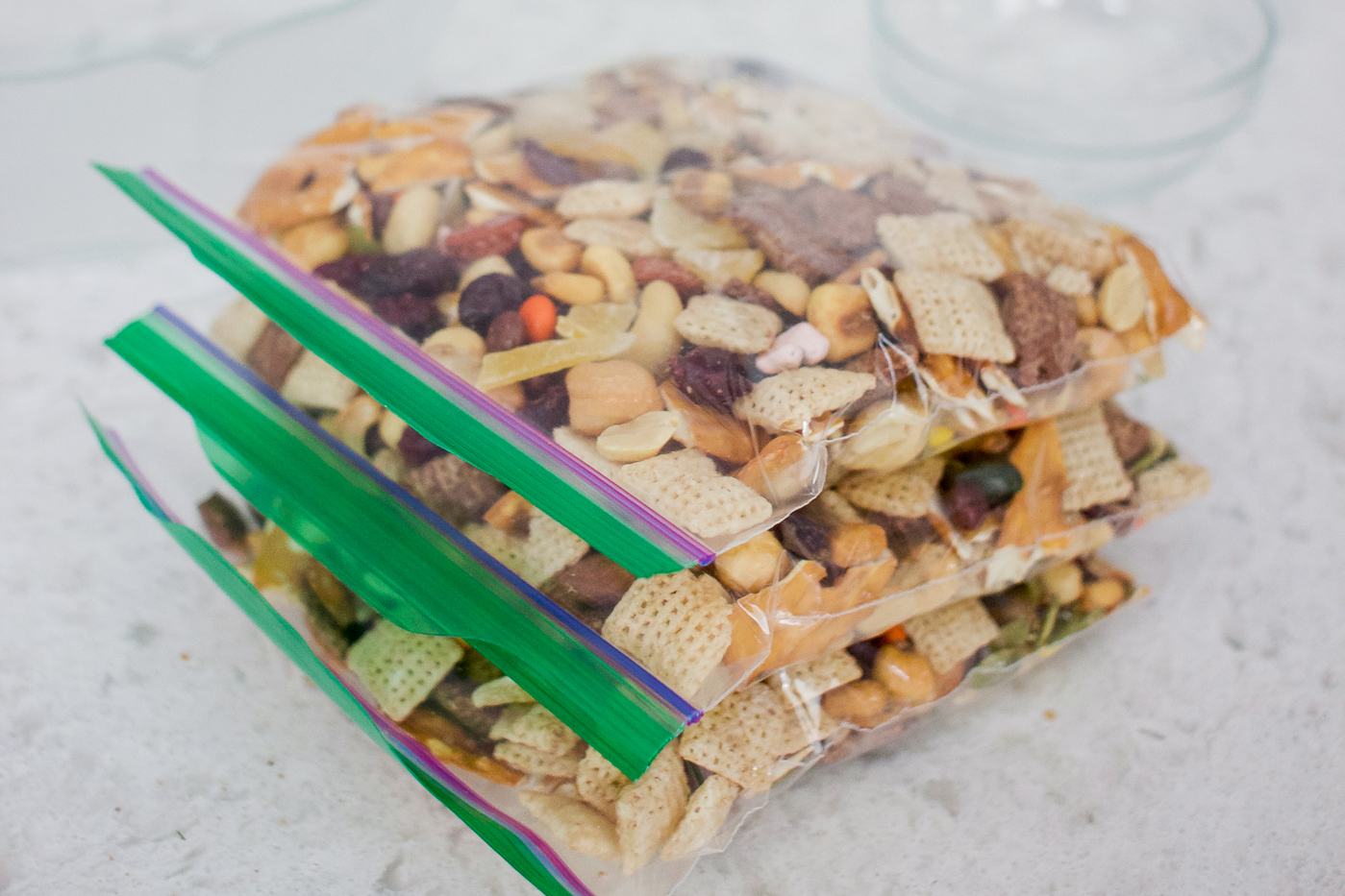 easy and simple homemade trail mix, in snack sized bags, ready for camping trip