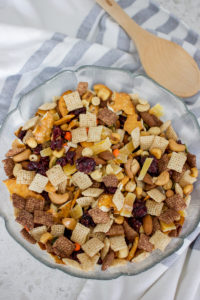 easy recipe for trail mix, which includes a lot of nuts and sweets, but no raisins