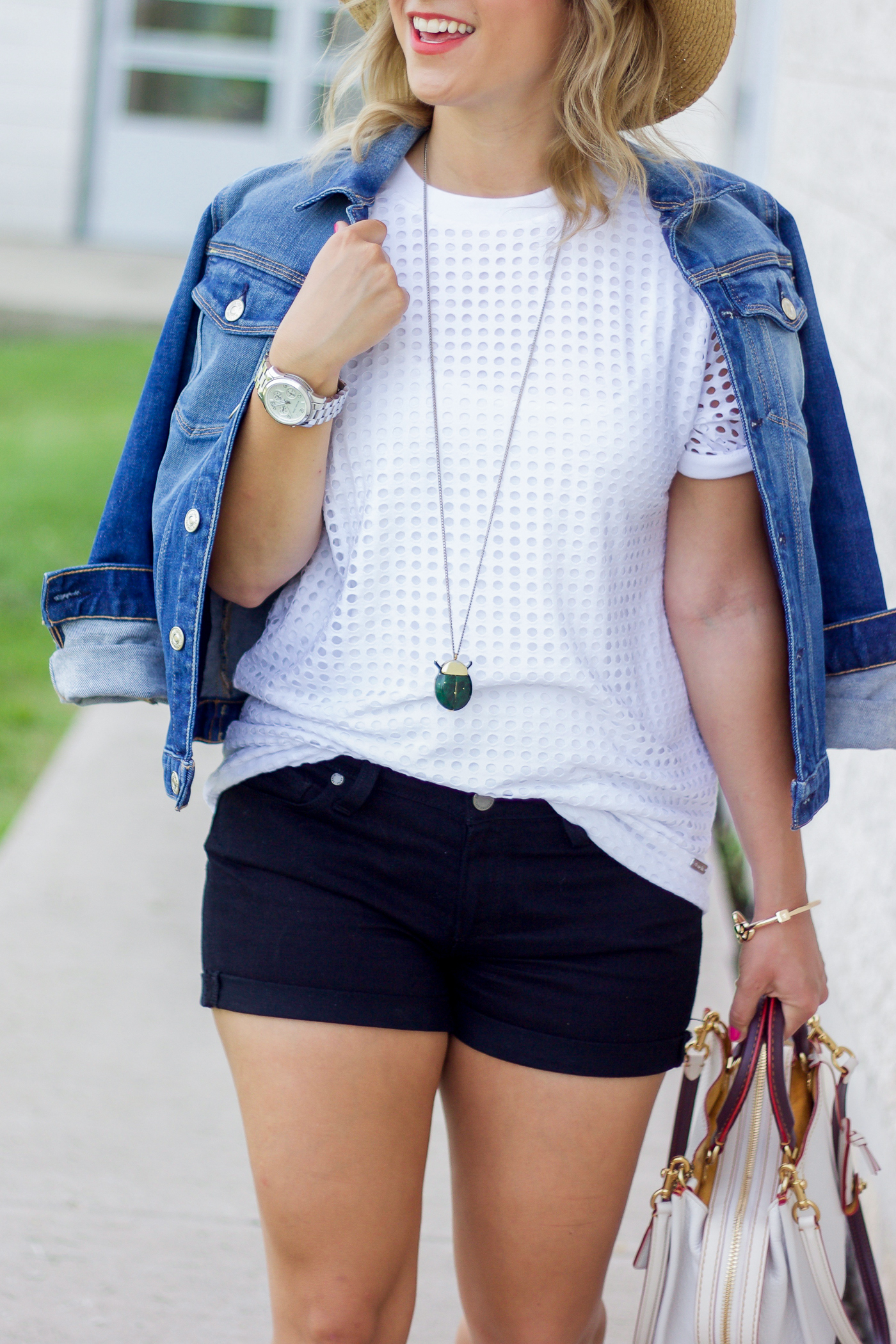 Simple summer outfit, featuring a white t-shirt from Bench, 7FAM denim Jacket and black denim shorts by Paige jeans