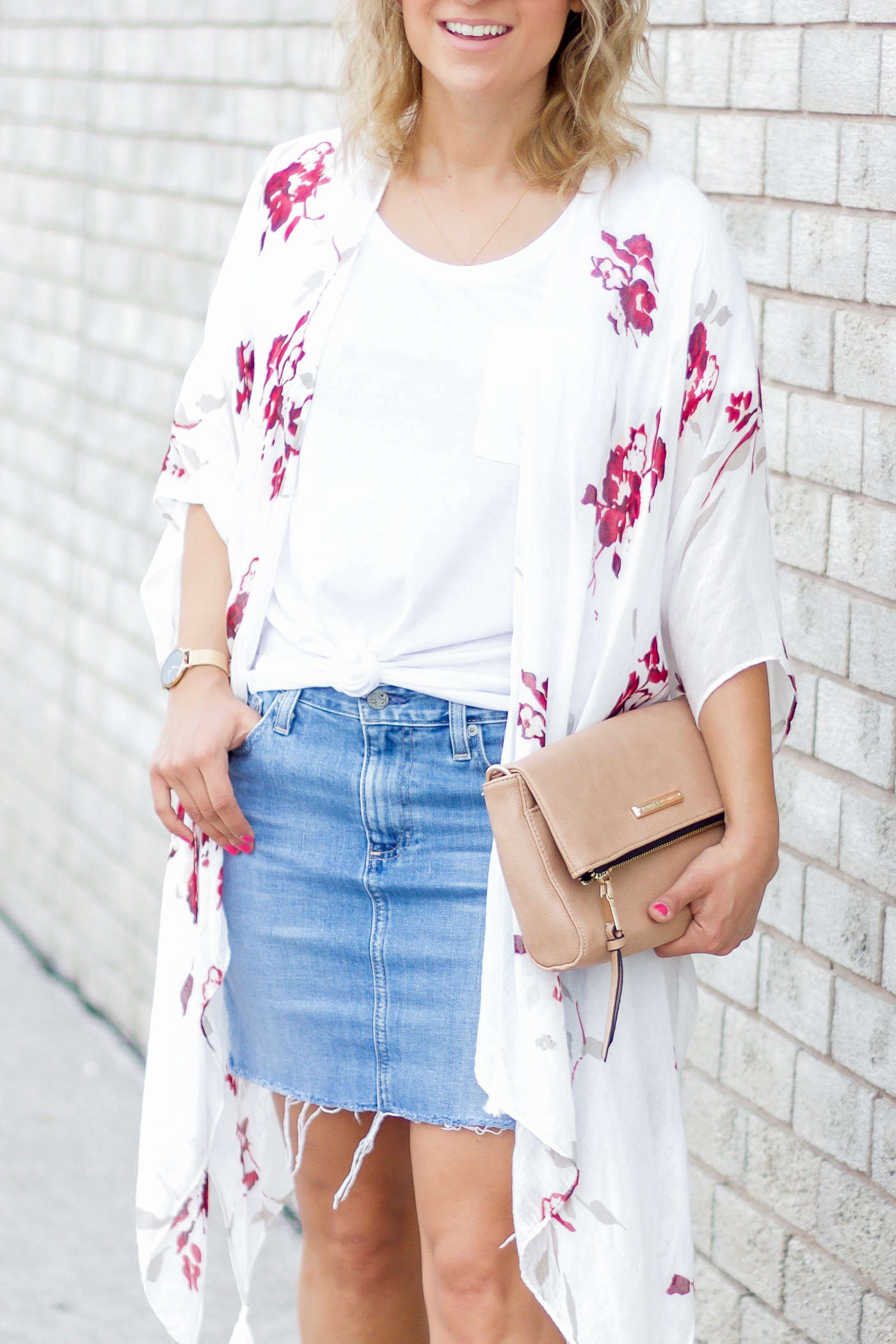 Summer outfit on Toronto fashion and lifestyle blogger, with a light denim skirt and floral wrap from Gentle Fawn