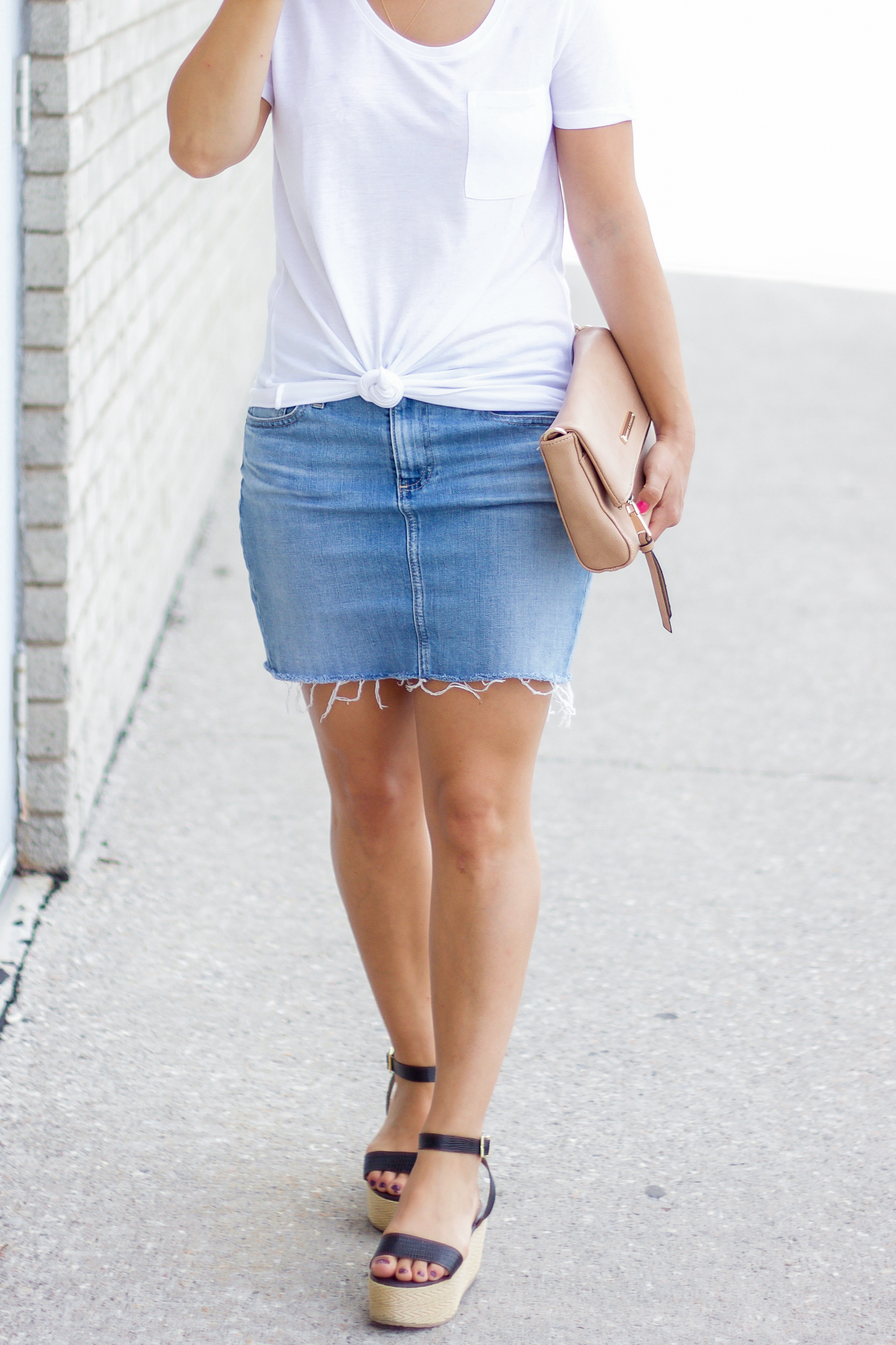 White t-shirt from Sears Canada with a light wash denim skirt for summer