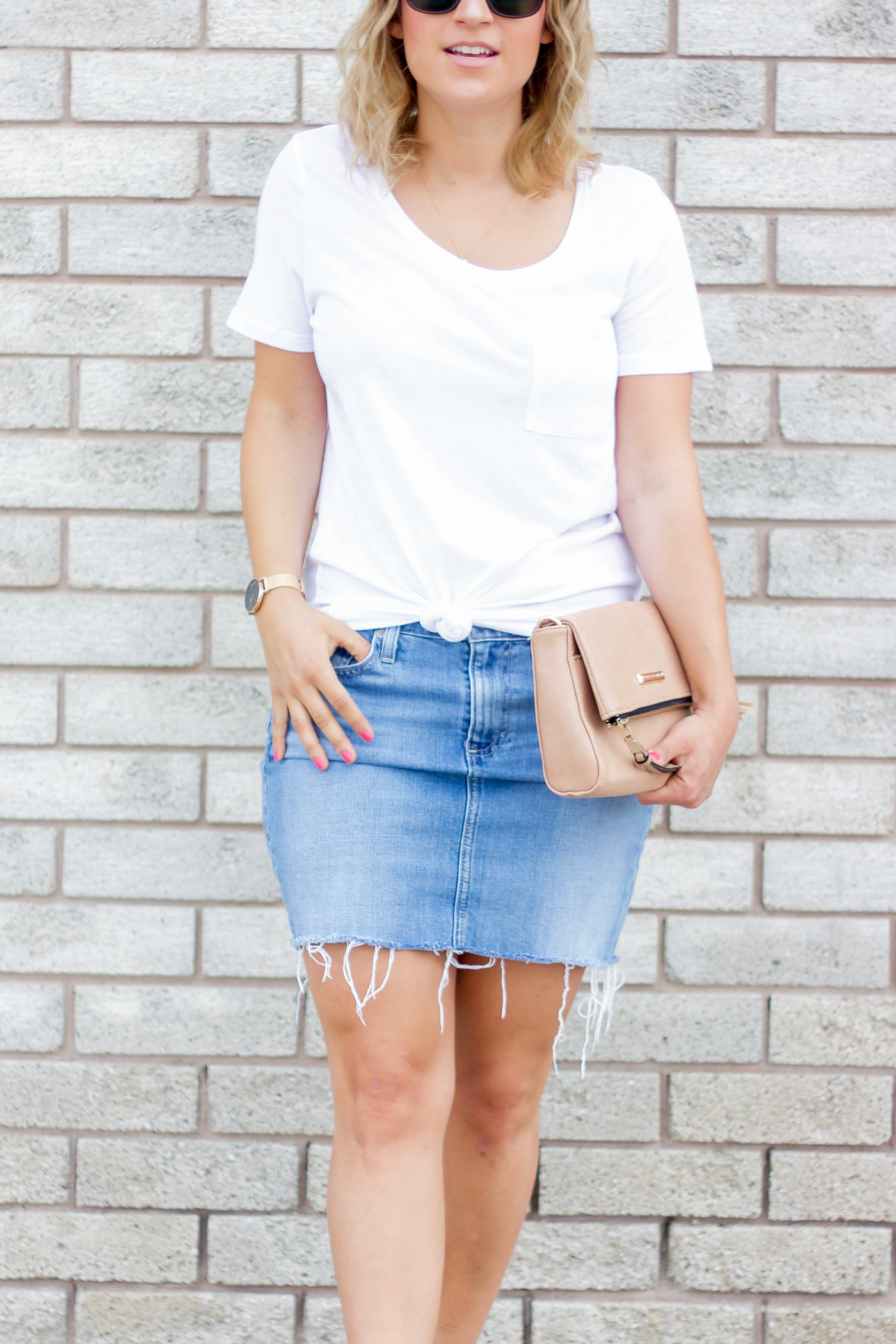 Simple summer outfit idea, with a white t-shirt from Sears and a light denim skirt from Ag Jeans