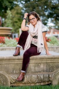 Canadian lifestyle and fashion blogger wearing a cozy pink scarf from Chapters Indigo, with a Gap softspun striped t-shirt, corduroy skinnies from LOFT and Geox ankle booties