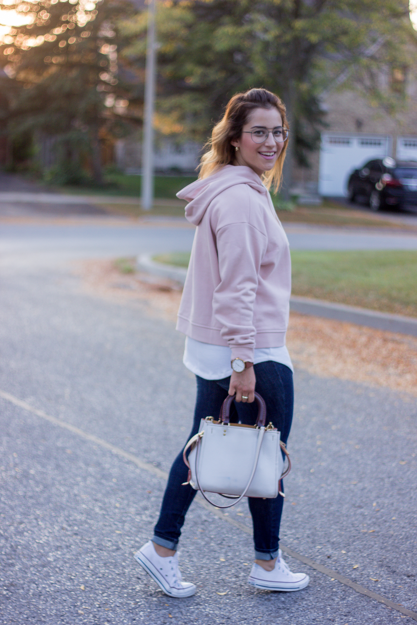Tips for how to wear a hoodie as an adult, as seen on Toronto lifestyle blogger, Jackie of Something About That