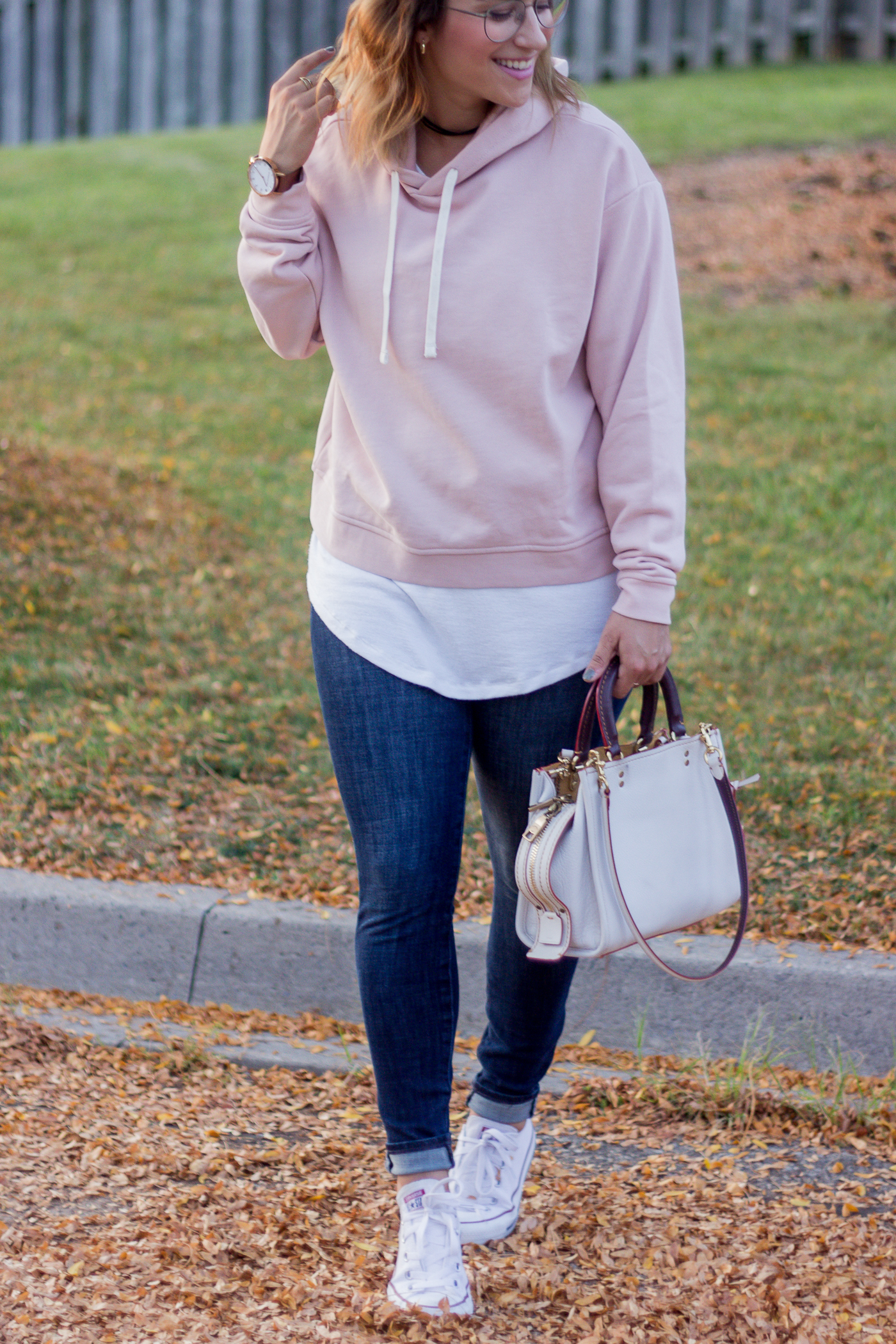 Canadian petite fashion blogger shares her favourite fall hoodies and how she wears this pullover from Everlane