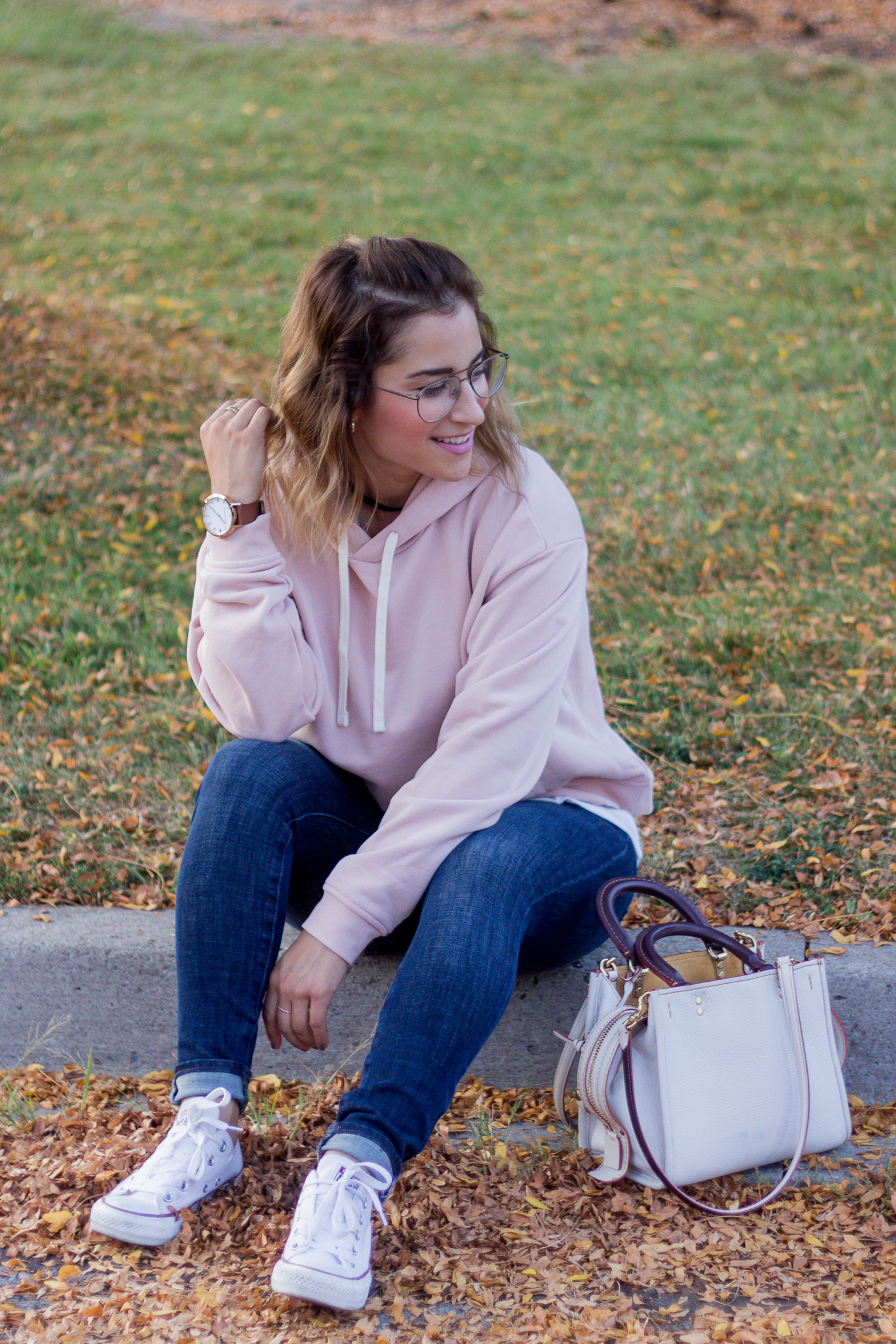 Toronto fashion and lifestyle blogger Jackie of Something About That wearing an Everlane hoodie with Gap Sculpt jeans