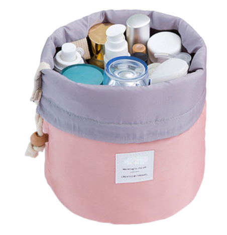 Drawstring makeup and toiletries organizer