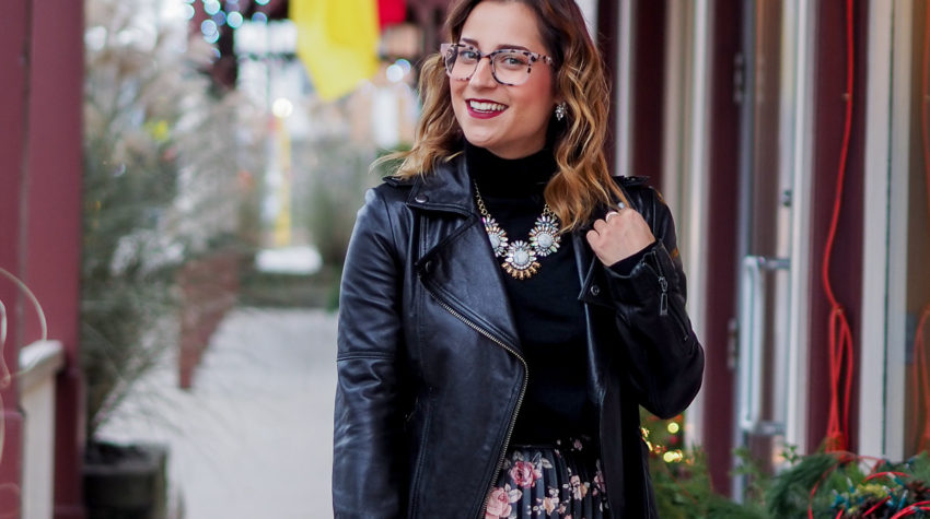 Canadian lifestyle and fashion blogger Jackie Goldhar of Something About That, sharing a cute holiday outfit idea with glasses from Clearly's Main & Central tortoise shell collection