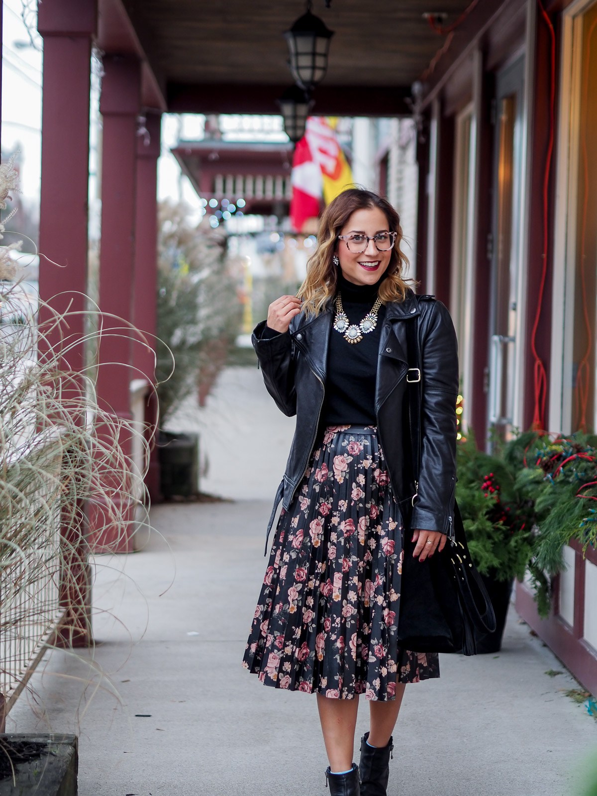 How to style eyeglasses for the holidays - a simple holiday outfit, featuring a BB Dakota floral skirt and blush tortoise glasses from Clearly