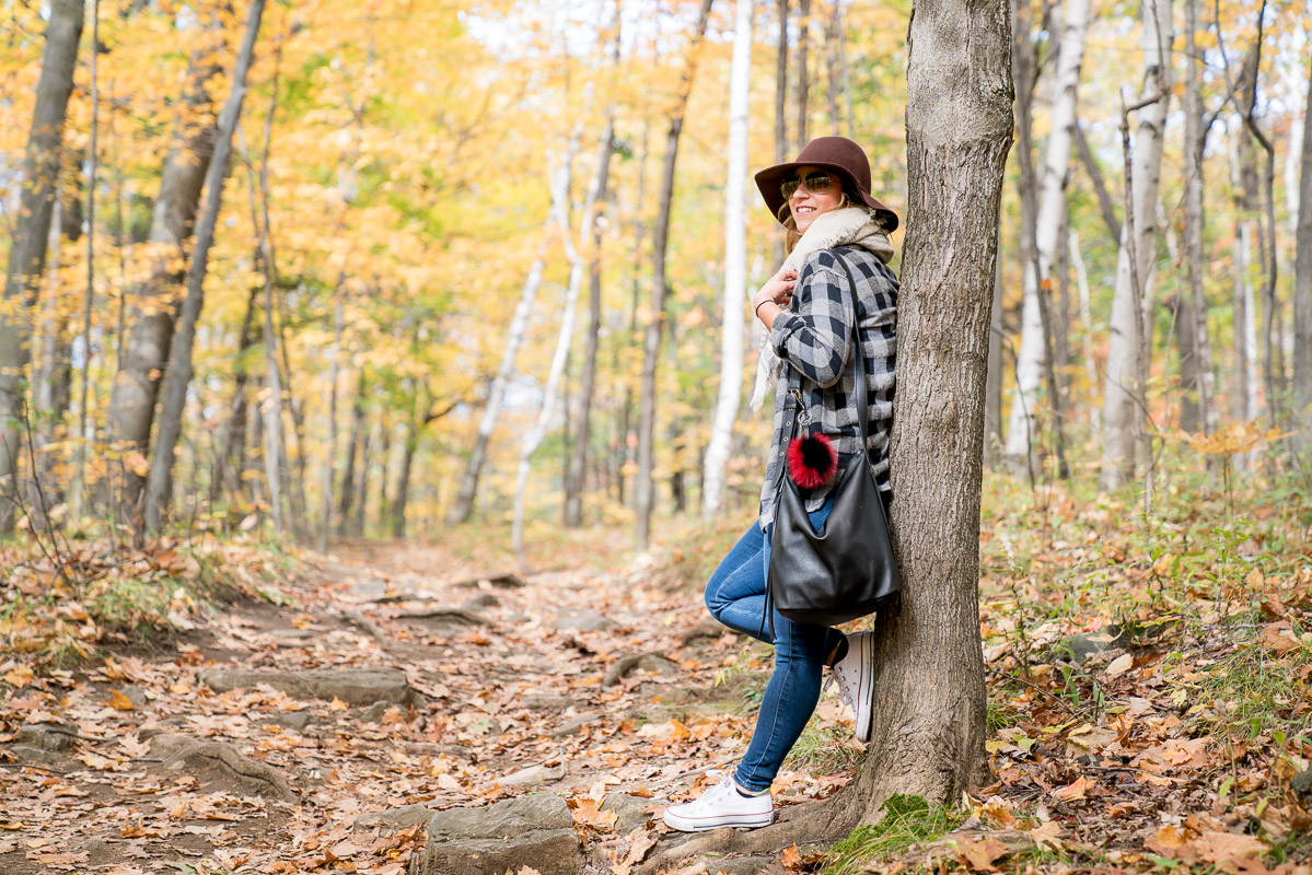 Mixing two types of plaid in a fall outfit