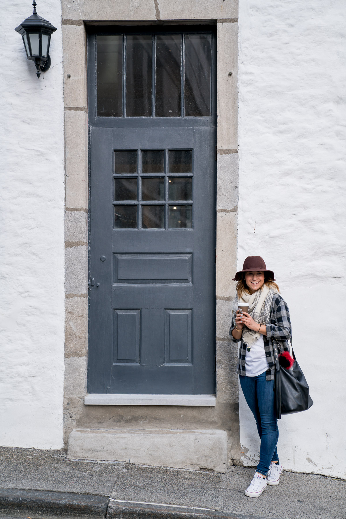 Exploring Old Montreal and finding white walls and colourful doorways