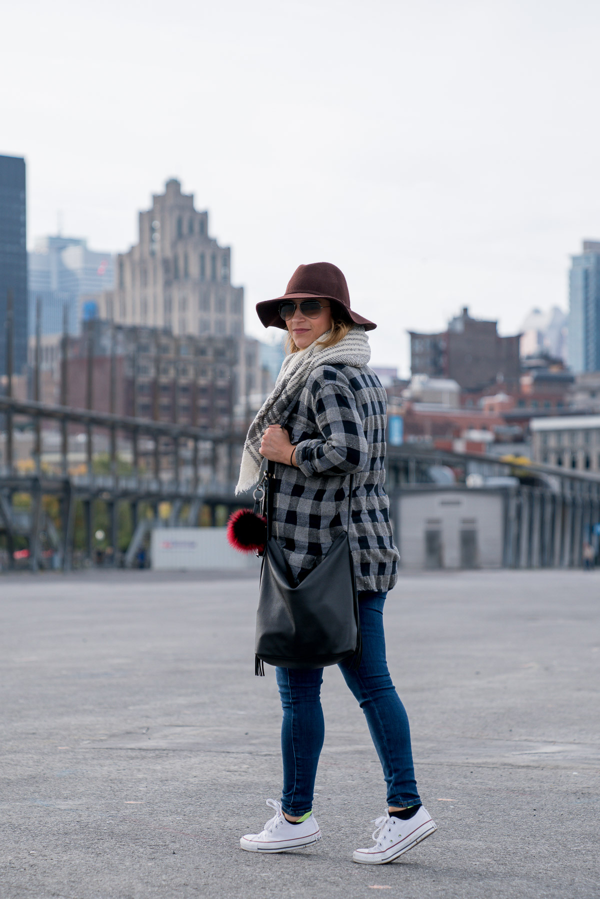 Mixing two kinds of plaid for an effortlessly cool fall outfit with jeans