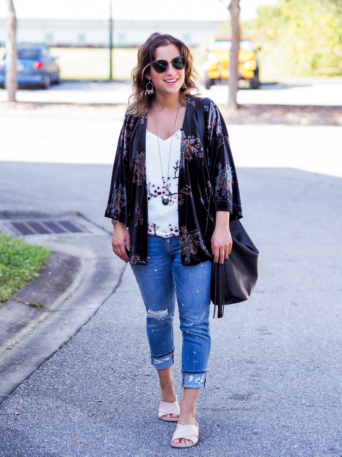 Floral velvet kimono from LOFT, with a floral tank and ripped jeans from Gap