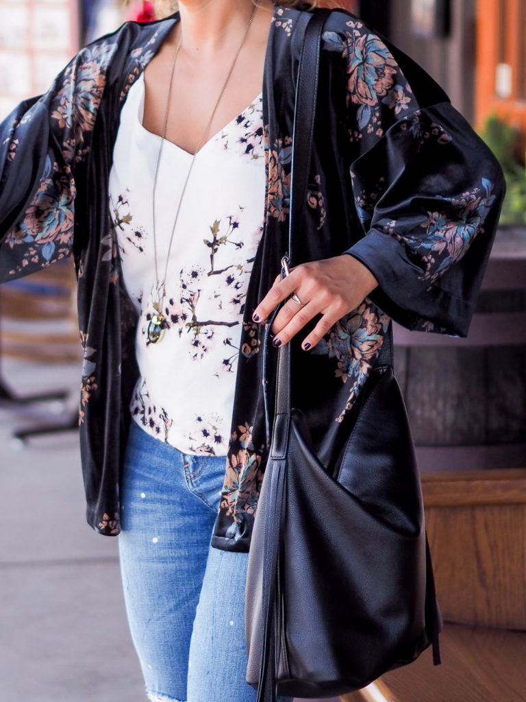Floral Velvet Kimono from LOFT, with a floral Vero Moda blouse, and ripped girlfriend jeans from Gap