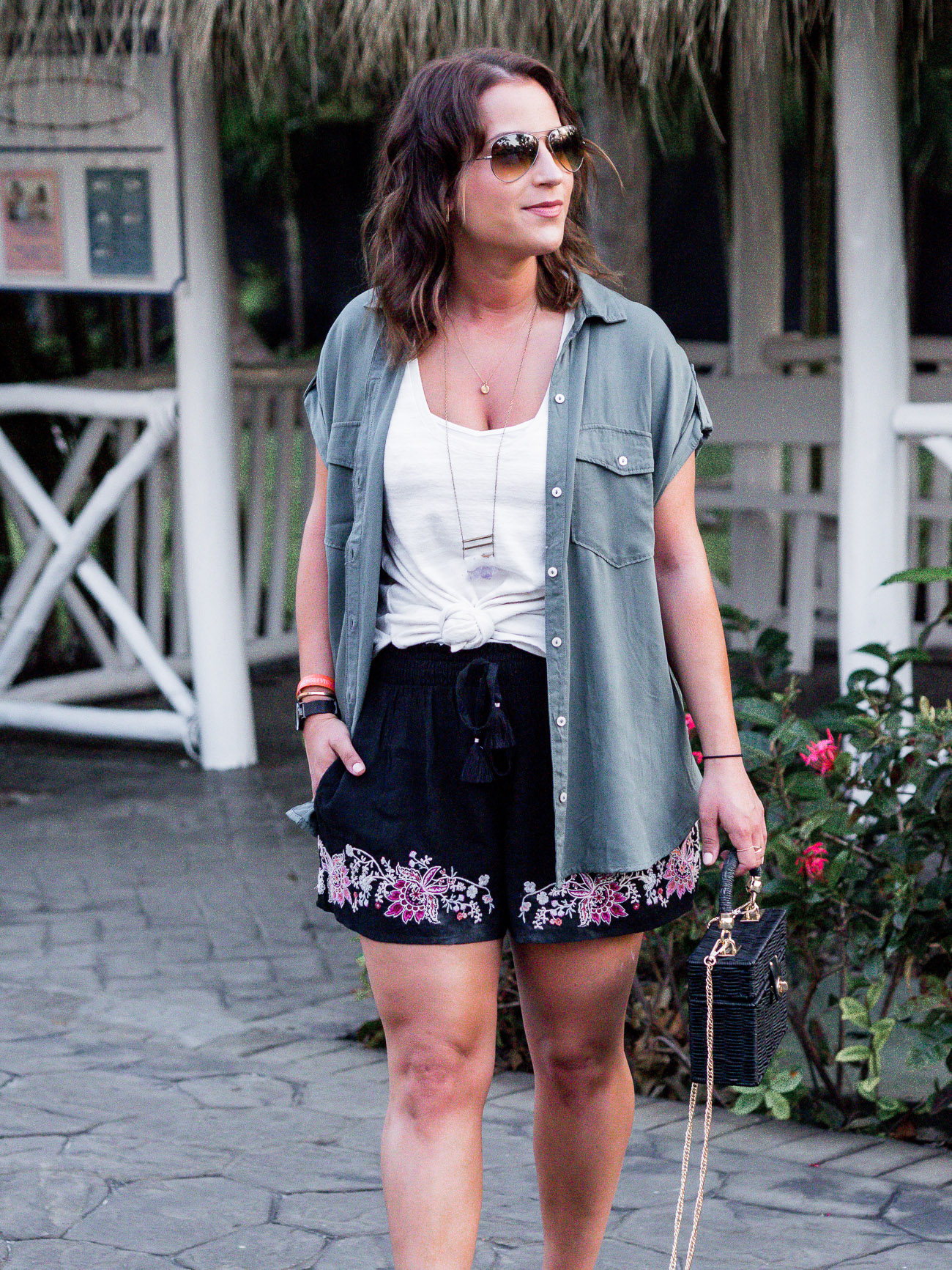 Lifestyle and fashion blogger, Jackie From Something About That, is wearing a vacation outfit!