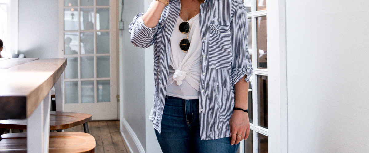 A Simple Weekend Outfit: Striped Button Down Shirt and Jeans