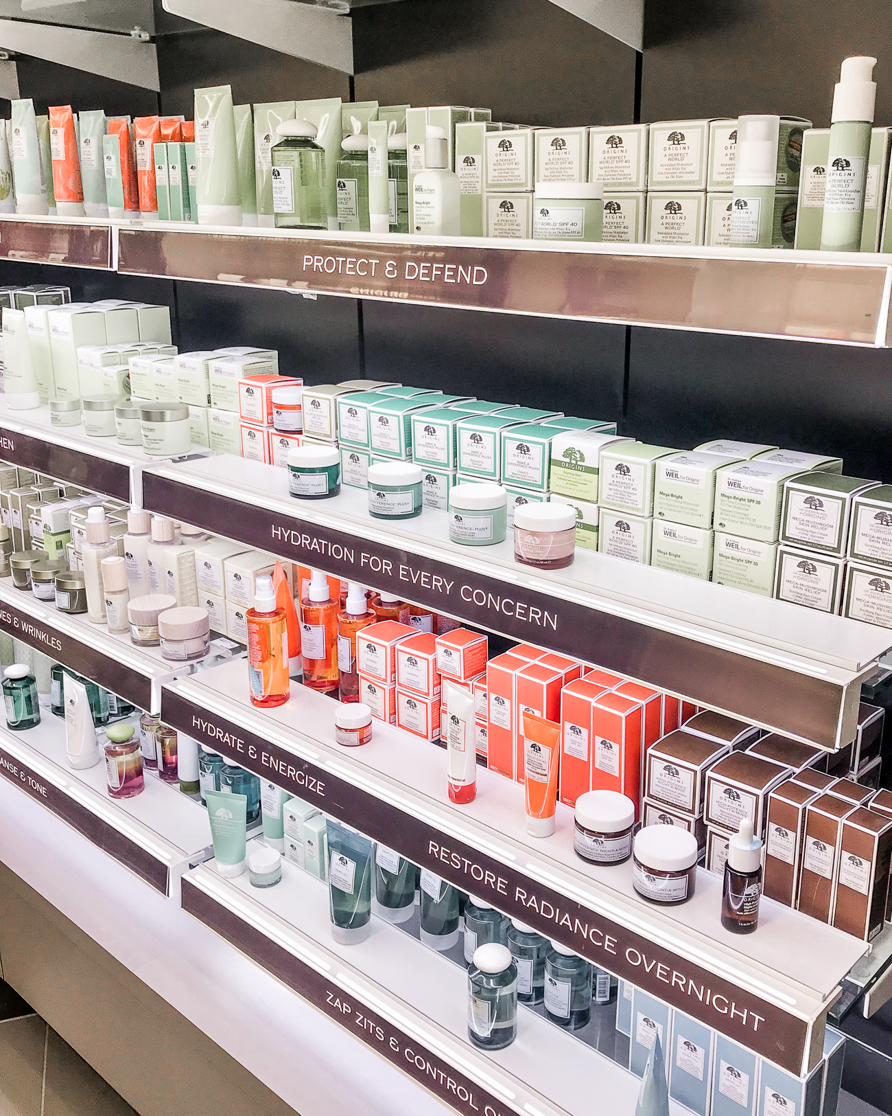 Beautiful display of Origins skincare products at Shoppers Drug Mart at Yonge and Dundas
