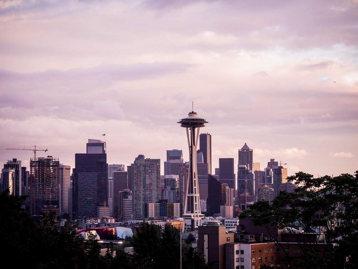 View of the Seattle skyline at sunset from Kerry Park
