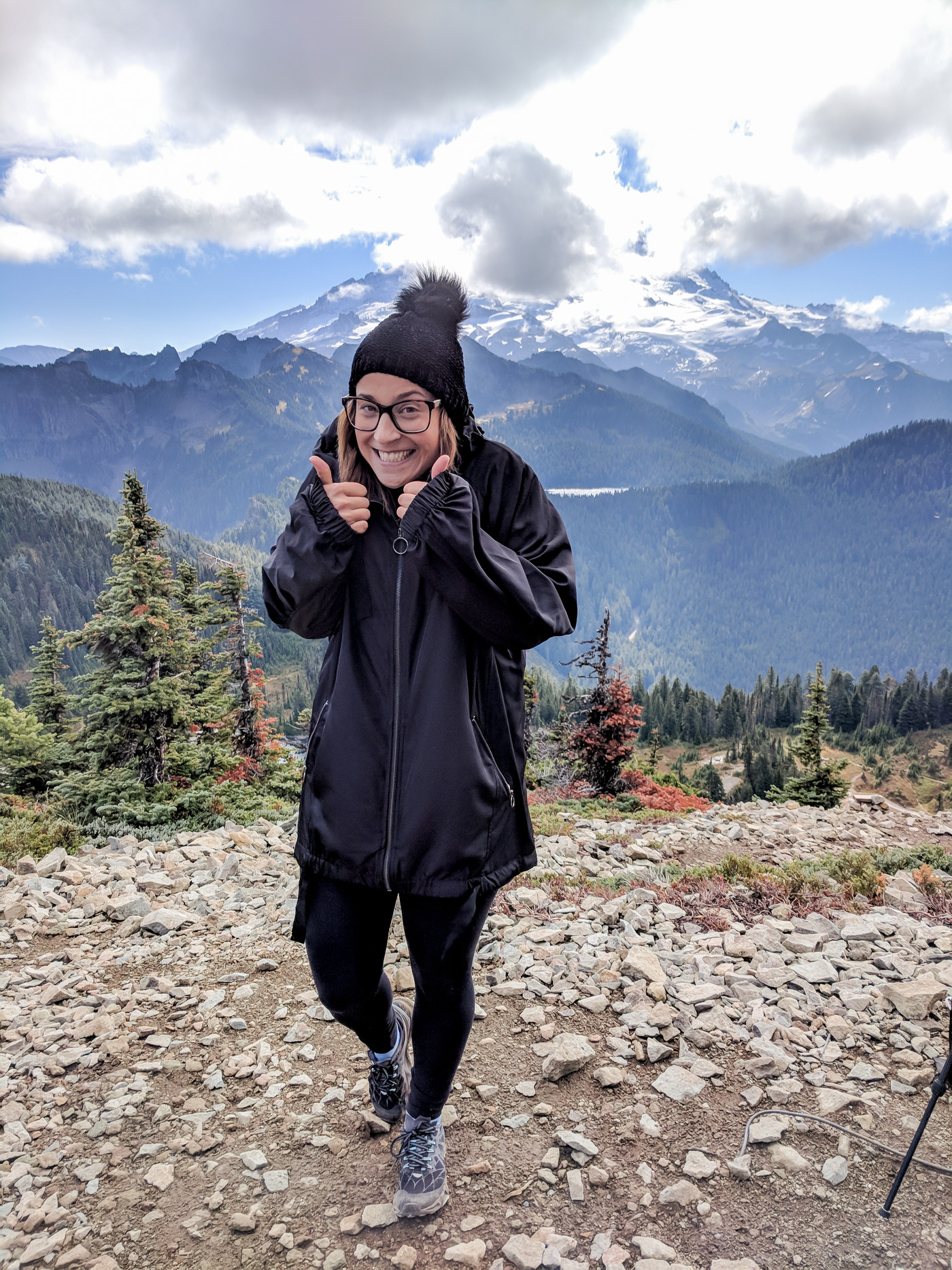 Standing at the top of Mount Rainier after a hike
