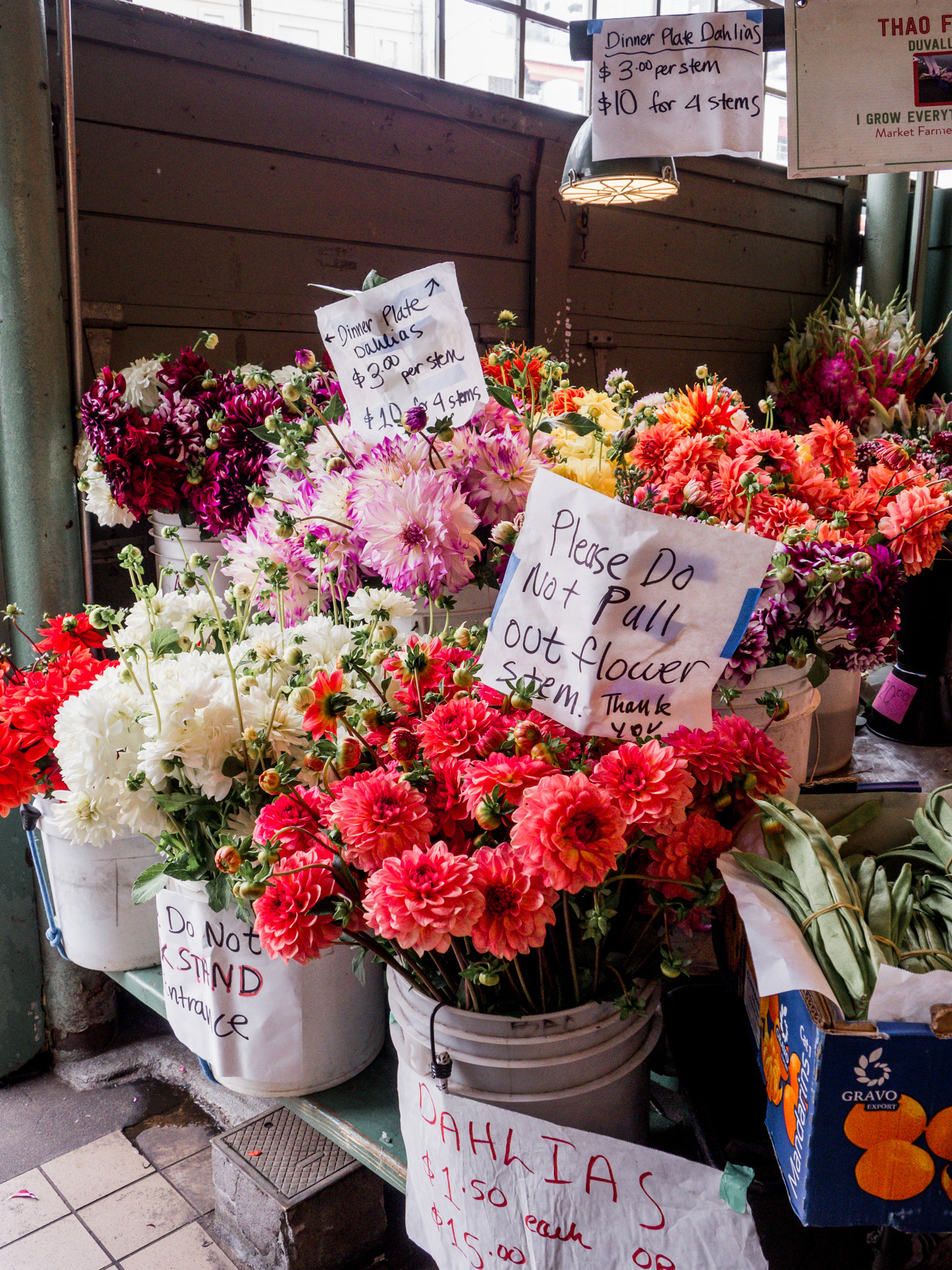 Bunches of cheap flowers for sale at the Pike Place Market in Seattle