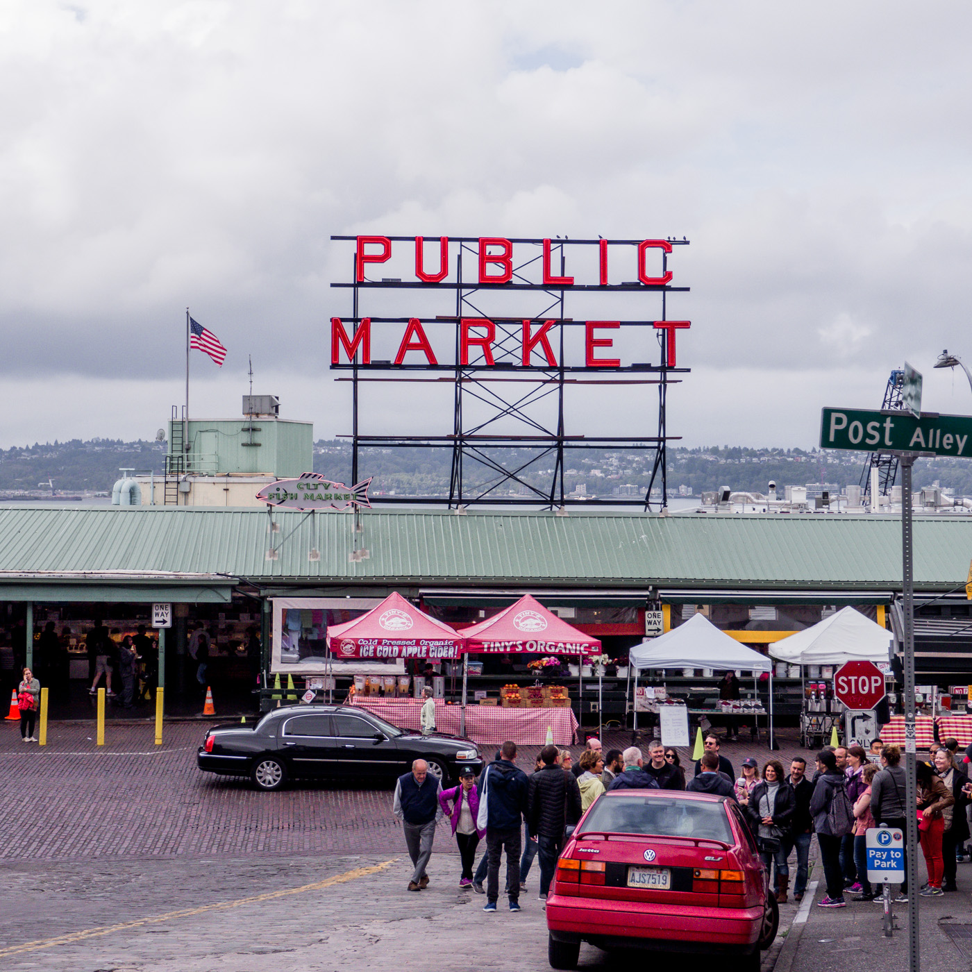 View of the infamous Pike Place Market sign in Seattle, WA