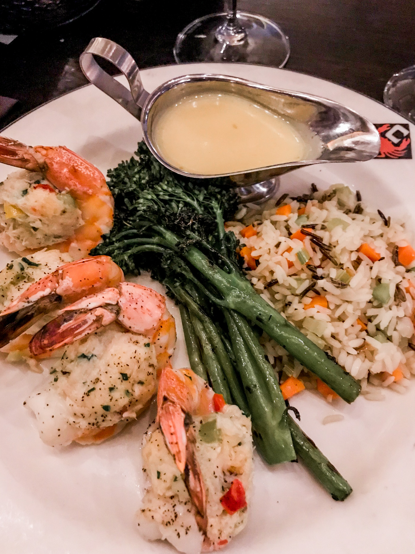 Crab-stuffed prawns from Chandler's Crabhouse in Seattle