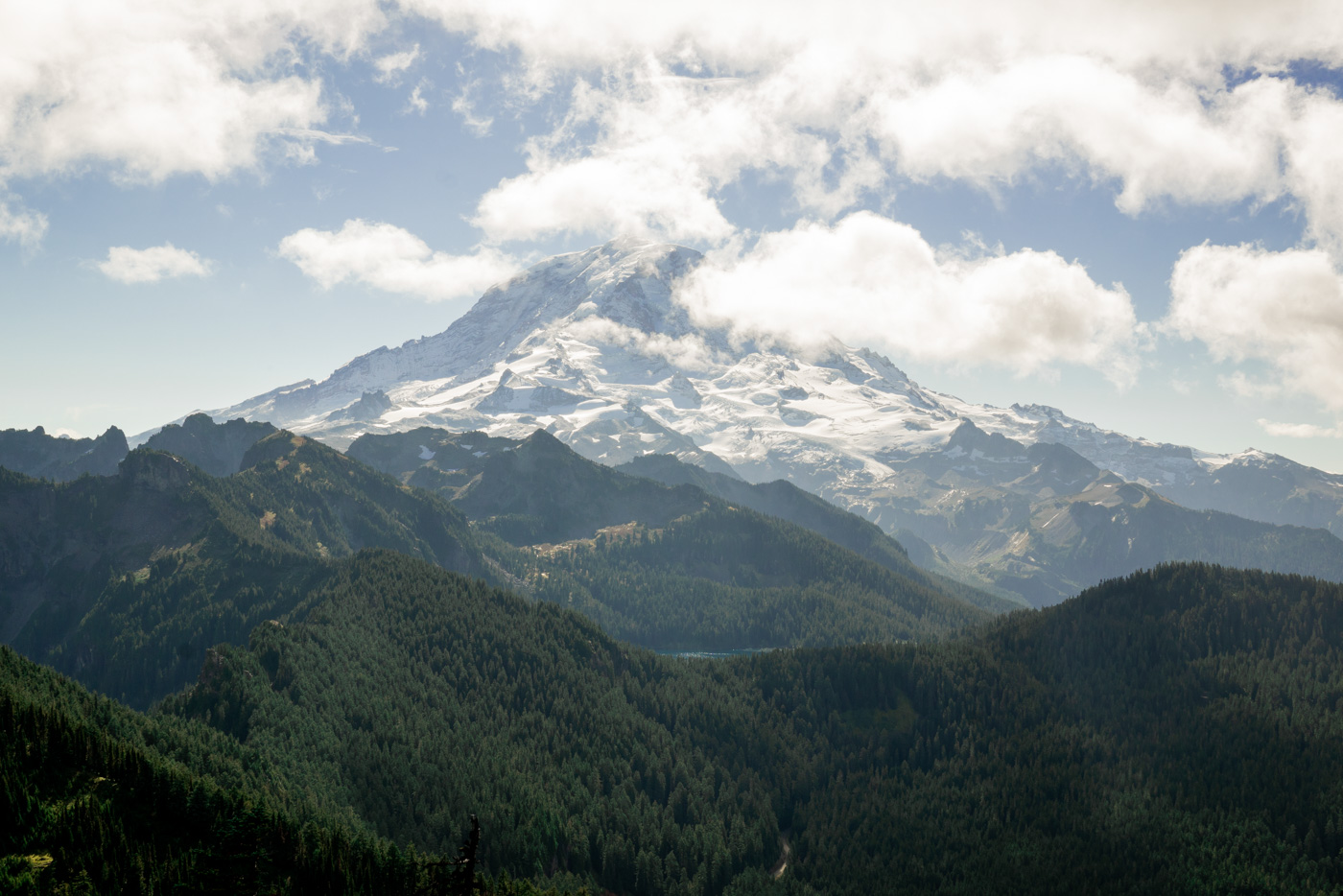 View from the lookout point at the top of Mount Rainier after completing a hike up the mountain
